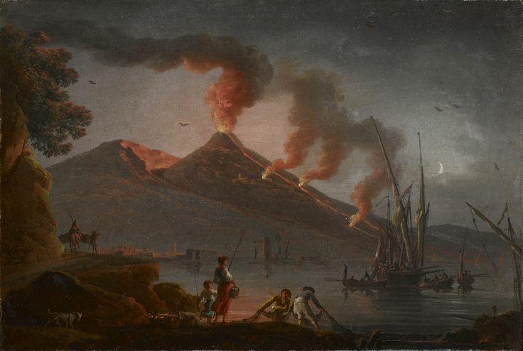 """""""Eruption du Vésuve depuis la baie de Naples, la nuit. """" Charles François Lacroix de Marseille"""