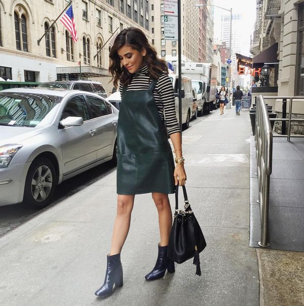 Sazan adds the Bedford Drawstring to her super chic look.