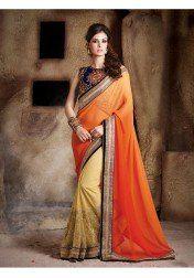 Hitansh Orange & Offwhite Embroidery Chiffon Saree with Blouse