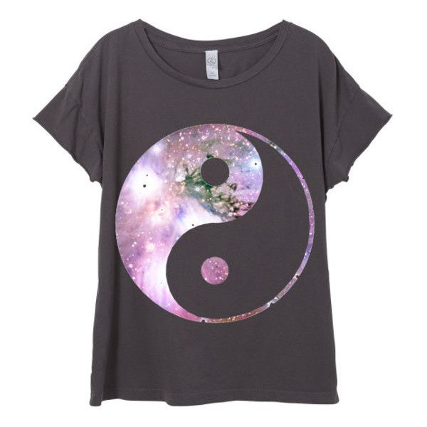 Womens Boho Galaxy Ying Yang Peace Festival Shirt Trendy Tumblr Tee... ($28) ❤ liked on Polyvore featuring tops, t-shirts, shirts, white, women's clothing, vintage tees, white short sleeve shirt, short sleeve t shirt, galaxy t shirt and peace sign t shirt