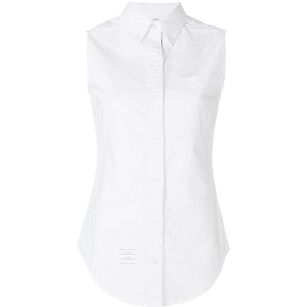 Thom Browne Sleeveless Button-Up Shirt ($415) ❤ liked on Polyvore featuring tops, white, white top, cotton shirts, thom browne shirt, cotton button down shirts and white sleeveless top