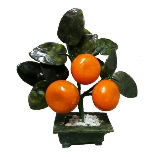 Arbol de la Prosperidad de tres (03) Mandarinas y Jade.