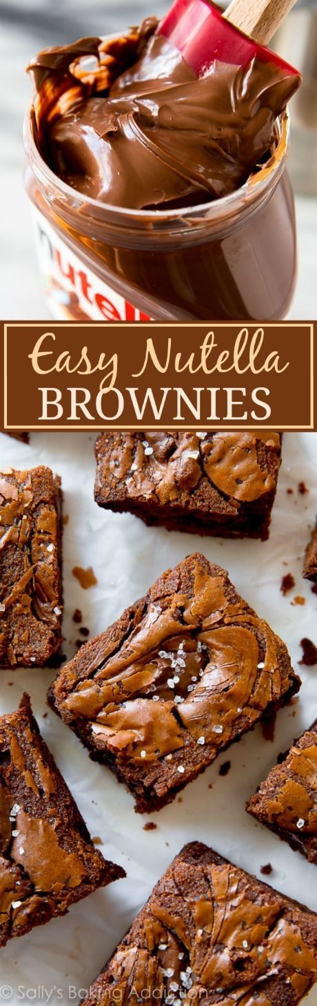 Using chocolate hazelnut spread, Nutella, as the chocolate flavor in easy homemade brownies takes them to the next level! Here's the recipe.