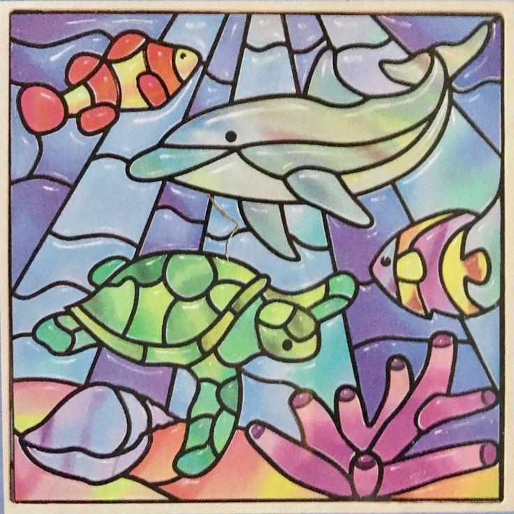 'Glas in lood' lijst. Een sticker op nummer hobby set voor kids vanaf 5 jaar.