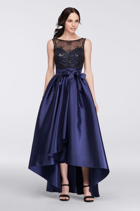 Mikado Mother of Bride/Groom Dress with Beaded Top and Tulip Skirt - Indigo (Blue), 12
