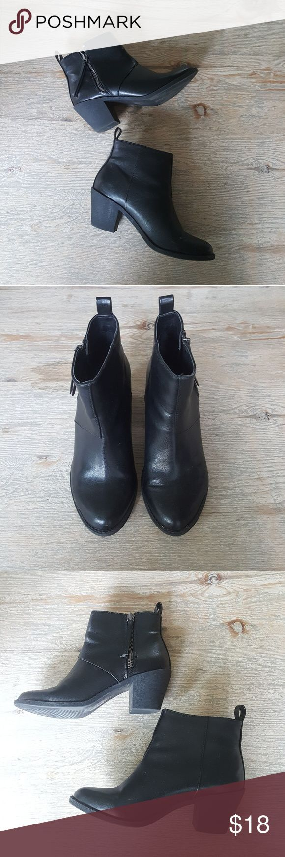 "*3 FOR 30* Black Booties Worn once, show normal signs of wear but are still in great condition! From Forever 21. Technically size 6 but I'm usually a 7 and they fit on my feet fine, just a bit too snug to wear very comfortably.   Bundle w/ 2 other listings marked ""*3 FOR 30*"" and offer $30 and I'll accept!!  Tagging ASOS, Nasty Gal, Urban Outfitters Forever 21 Shoes Ankle Boots & Booties"