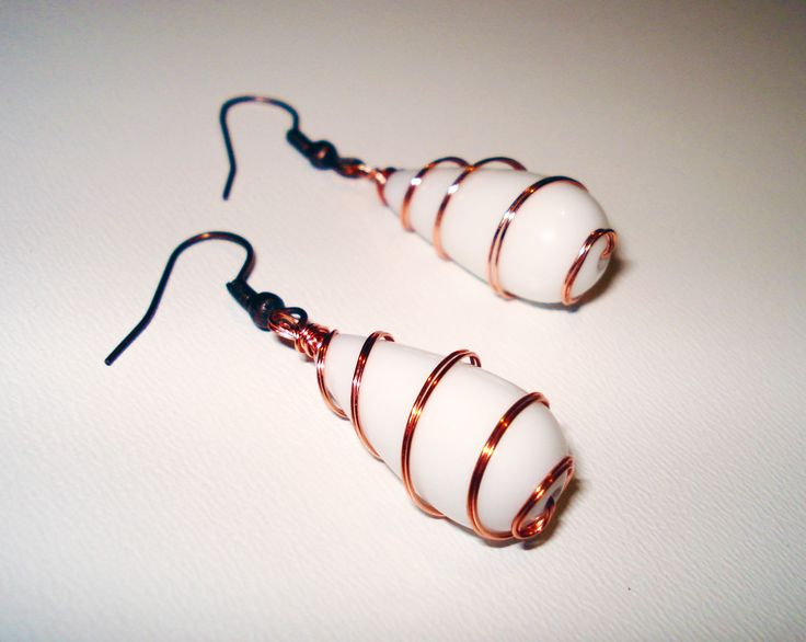 Agate Wrapped in Copper Wire Earrings by IALINA