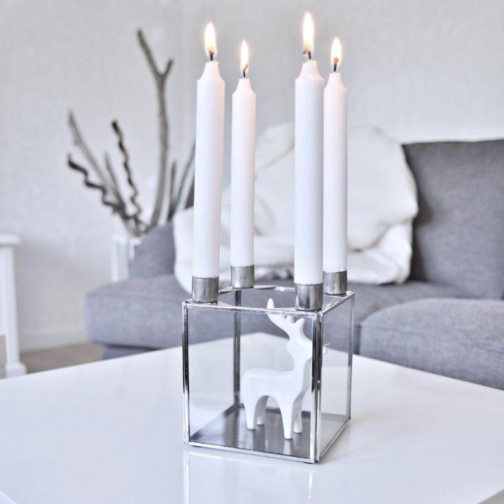 Vackraste rustika adventssljustaken i silver. Dekorera glasboxen efter säsong Vanliga kronljus passar.