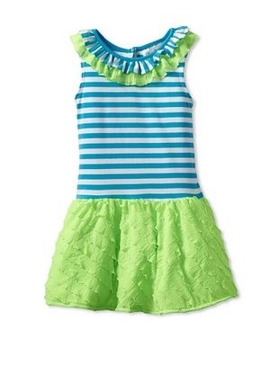 66% OFF Rare Editions Girl's 2-6X Tutu Waist Dress (Turquoise/White/Lime)
