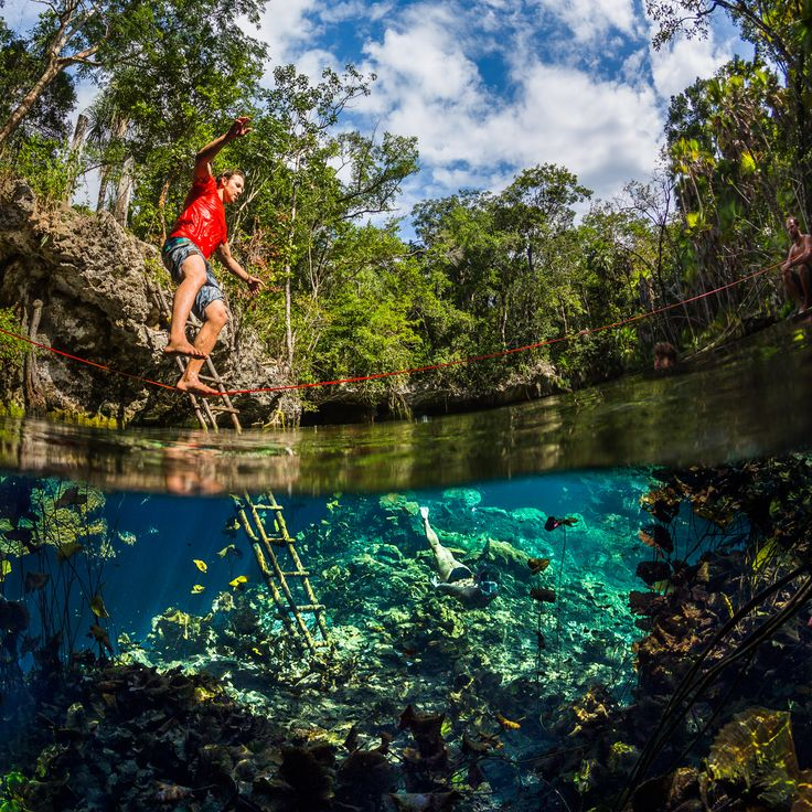 Photographer Anhede – Kickass photos. No more. No less. – Slacklining over a cenote in the Mexican jungle - #slackline #slacklining #balance #mexico #akumal #tulum #underwater #uw #uwphoto #underwaterphoto #underwaterphotographer #adventure #adventurephotographer #jungle #cenote #snorkeling #anhede