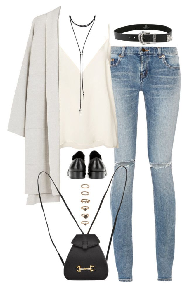 Sem título #5035 by fashionnfacts on Polyvore featuring polyvore, fashion, style, Eileen Fisher, Anine Bing, Yves Saint Laurent, Balenciaga, Gucci, Forever 21, B-Low the Belt and clothing