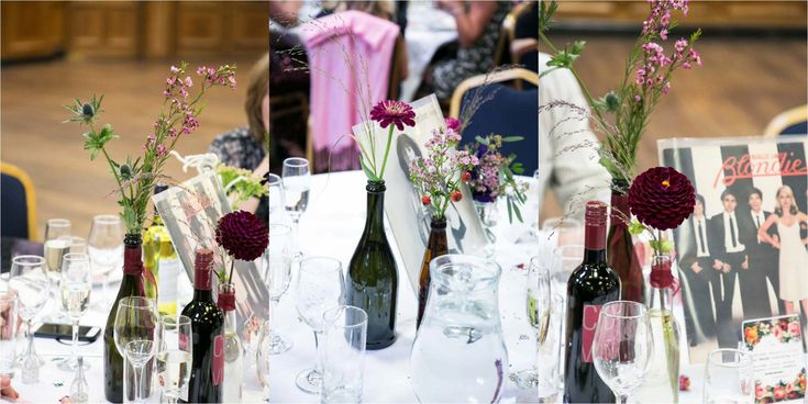 rustic table decoration with retro album covers at islington town hall wedding