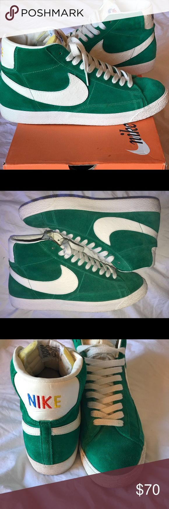 NIKE Blazer mid Premium Vintage RNBW PACK 10.5 Here are a pair of size 10.5 US NIKE blazers in the lucid green color-way. Purchased online from END clothing which is UK based. Worn literally a hand full of times and boxed ever since. These are great to wear casually and add a pop of color for the fall. Nike Shoes Sneakers