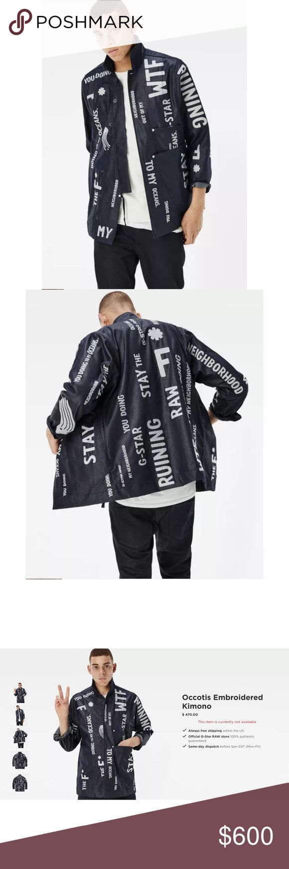 """G-Star Raw For The Oceans Pharrell Jacket NEW G-Star Raw 'Occotis Embroidered Kimono' Denim Jacket. Pharrell's Raw for The Oceans rare piece. Limited 1 of 250. Across Chest: 23.5"""", Sleeve from mid back: 35"""", Sleeve from shoulder: 25.5"""", Across shoulders: 18"""", Length: 32.5"""" G-Star Jackets & Coats Lightweight & Shirt Jackets"""