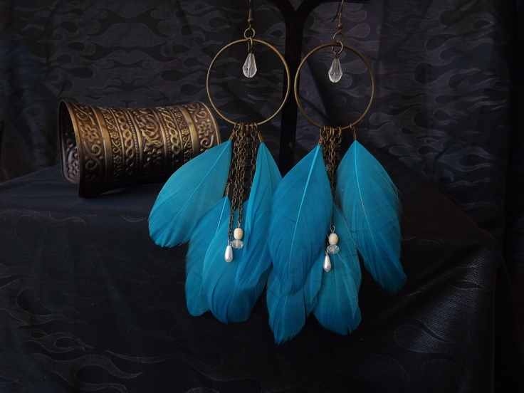 Blue goose feather earrings, find me on facebook @ Costume Jewellery by Trixie