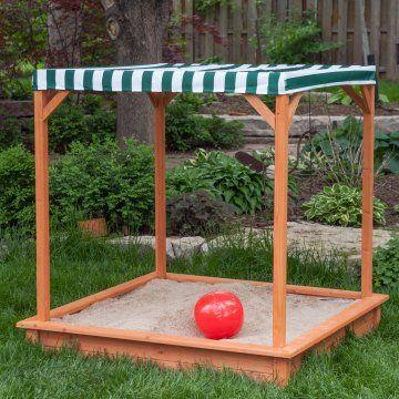 Sun Shade Wooden Sandbox With Canopy
