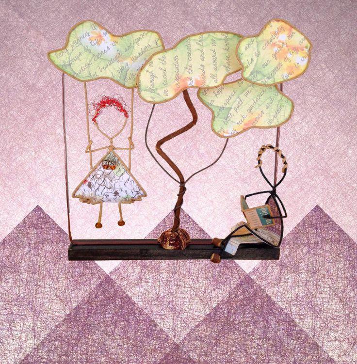 Under the Wisdom Tree.  Paper wire sculptures that tell a story.  Sculpture de fil, Poesie de papier