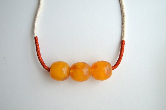 Yellow Orange Beaded Summer Necklace Statement by civcakli on Etsy