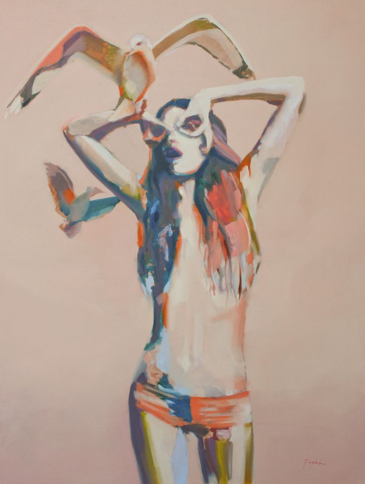 Show Me with Your Eyes Oil on Canvas 36 x 48 www.zoepawlak.com #figurative #painting #artist #girlwithbirds #seagull #zoepawlak #birds