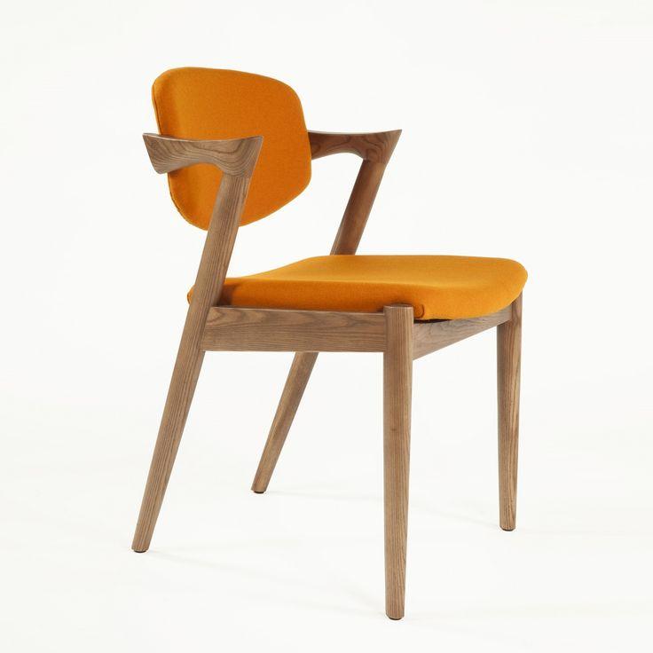 Orange Danish Model 42 Flap Back Dining Chair   By Mid Century Designer Kai  Kristiansen