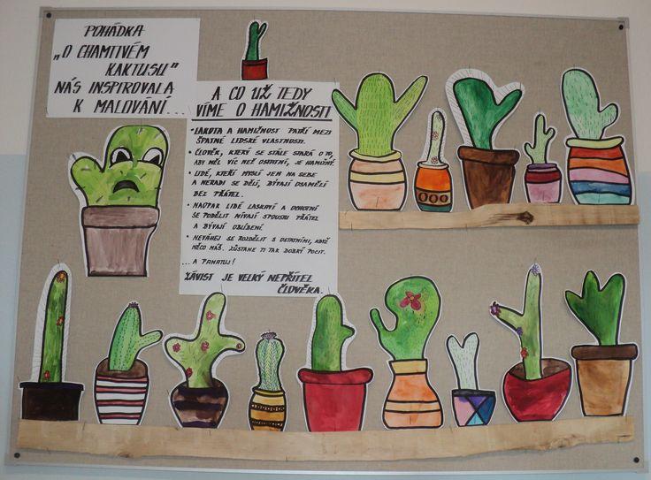 Kaktusy - anilinky nebo klasické vodovky a černé fixy
