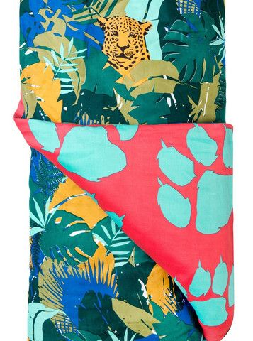 JUNGLE QUILT COVER  FROM - $159.00  It's a jungle out there and this is the jungle you want to be lost in. Living it up in a lush green jungle with vibrant colours and paw print's on the reverse. Grrrrr. Fully reversible for multi styling options.   Available in Single and Double 100% Cotton, 300 Thread Count Designed in Melbourne, Made in India Double Quilt fits King Single beds