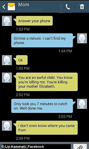 Woman shares text messages she sends to mom she loves to torment | Daily Mail Online