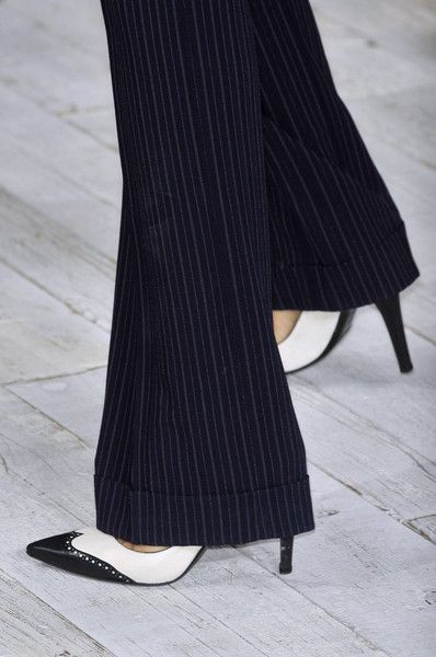 Pinstripe wide leg with black/white spectator shoe..classic chic look..one of my all time favs.