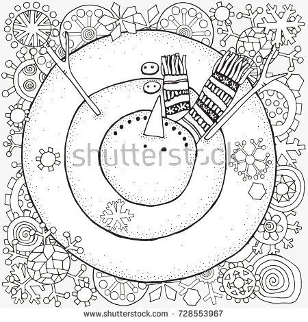 Cheerful snowman and snowflakes. Winter, snow, sled ...