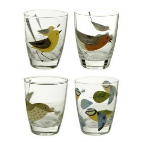 BIRDY - SET OF 4 GLASS TUMBLERS  www.englandathome.com