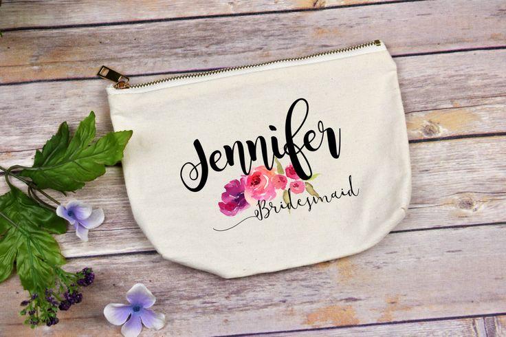 Bridesmaid Makeup Bag, Make Up Bag, Bridesmaids Gifts, Monogram Cosmetic Bag, Floral Makeup Bag, Bridesmaids, Will You Be My Bridesmaid Bag by TheCoffeeCorner on Etsy https://www.etsy.com/listing/506275033/bridesmaid-makeup-bag-make-up-bag