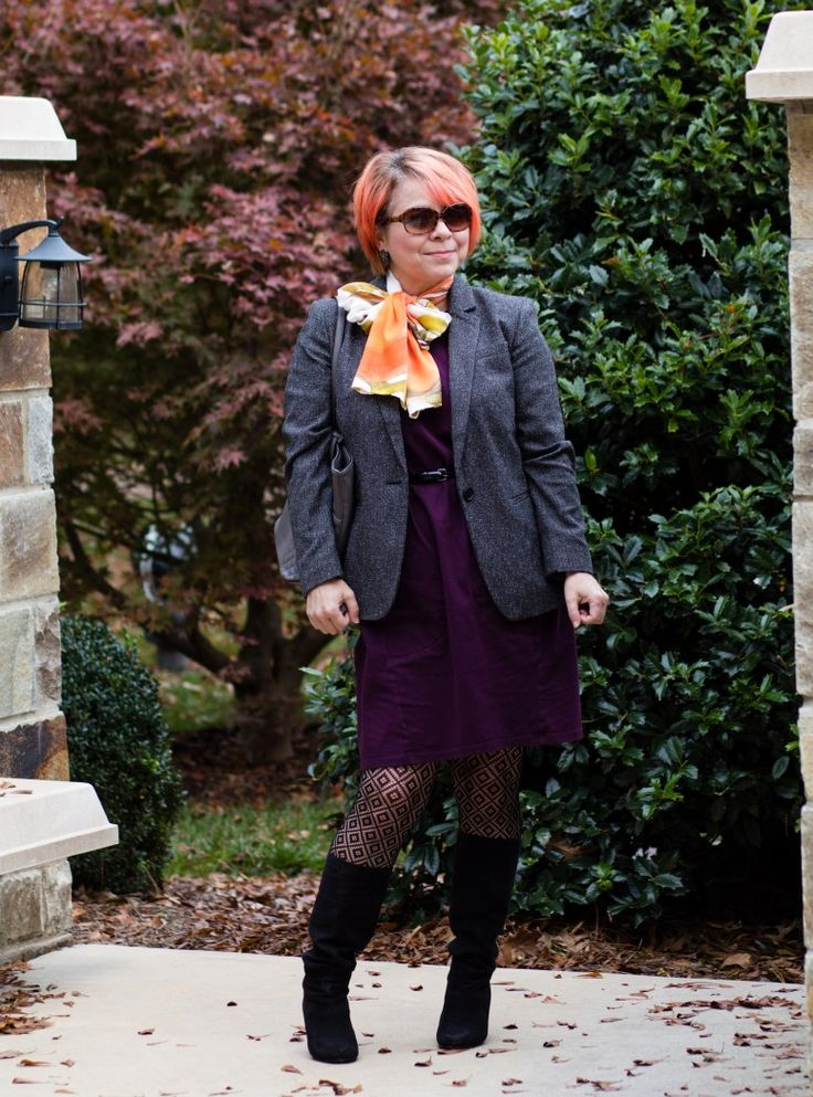 Uno Alla Volta, Pumpkin Silk Scarf, Grey Blazer, Textured Tights, Professional Style, Black Suede Boots, Fashion over 40, Budget Fashion Blog, Purple Sheath Dress