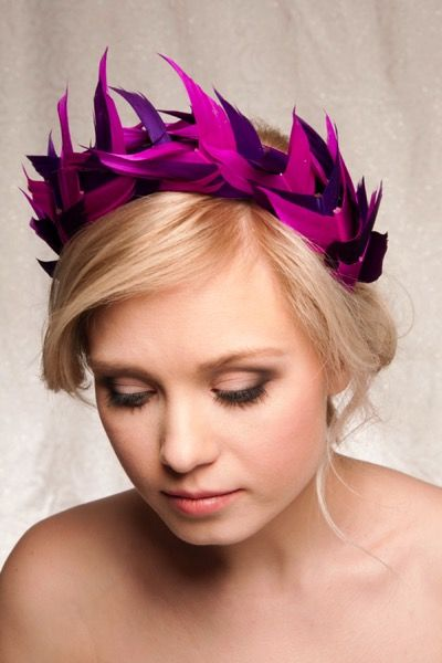 ободок для волос с перьями, ободок с фиолетовыми и розовыми перьями на выпускной, feather fascinator, feather headpiece