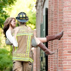 "Love this with his deputy uniform!....""This super cute engagement shoot featuring a genuine fireman whisking away his future bride"""