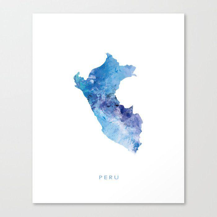 Peru Painting Digital Watercolor Typography Map Perumap