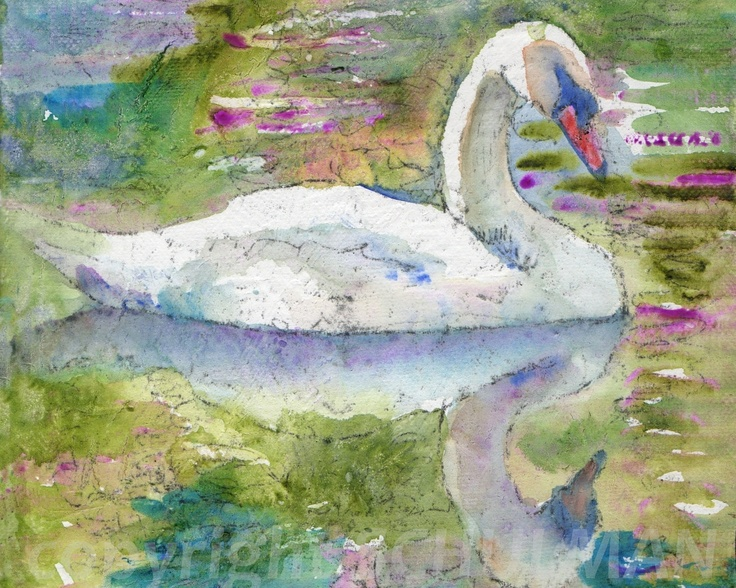 Pastel decor bird swan painting watercolor print of for Pastel teal paint