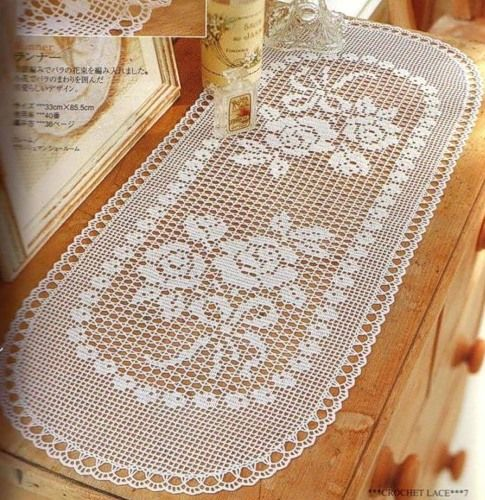 filet crochet - for your dressing tablet - keep it clean and crisp under glass