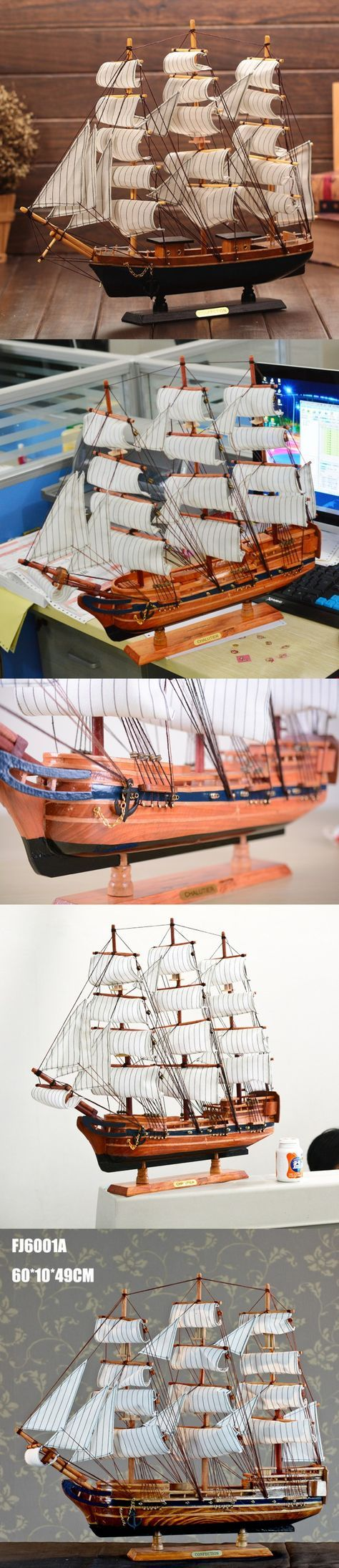 DIY Wooden 60 * 51CM Boat Ship Craft Rudder Large Sailboat Figurine Nautical Decor Wood Craft Gift Home Decoration Accessories $85.68