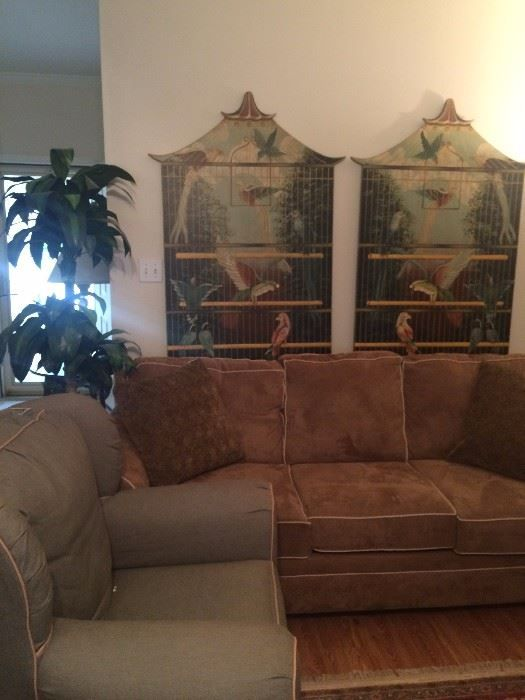 Light brown sofa with coordinating pale green chair; two tropical bird cage panels  New Divide & Conquer sale starting this September 8-10, 2016 check out the details here:  http://divideandconquerofeasttexas.com/nextsales.php  #estatesales #consignments #consignment #tyler #tylertx #tylertexas #organizing #organizers #professionalorganizer #professionalorganizers #movingsale #movingsales #moving #sale #divideandconquer #divideandconquerofeasttexas #divideandconquereasttexas #marthadunlap