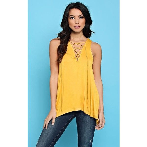 Mustard Lace Up Knit Swing Tank ($13) ❤ liked on Polyvore featuring tops, mustard, yellow sleeveless top, mustard tank top, sleeveless tops, lace up front top and yellow top