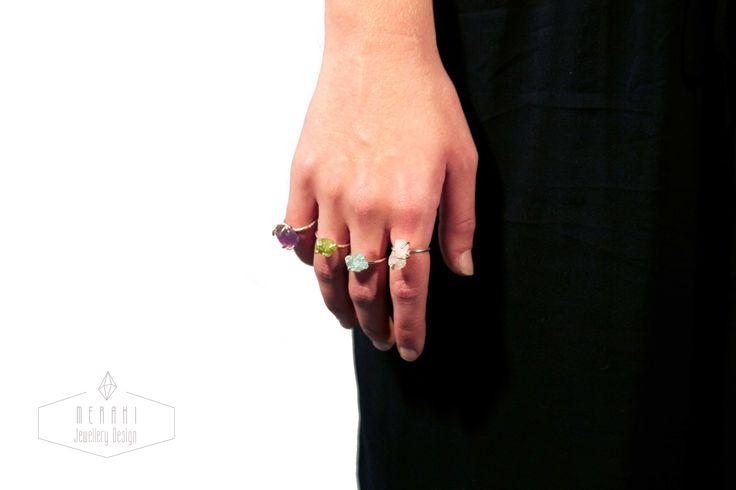 Rough stone rings www.merakijewellerydesign.com