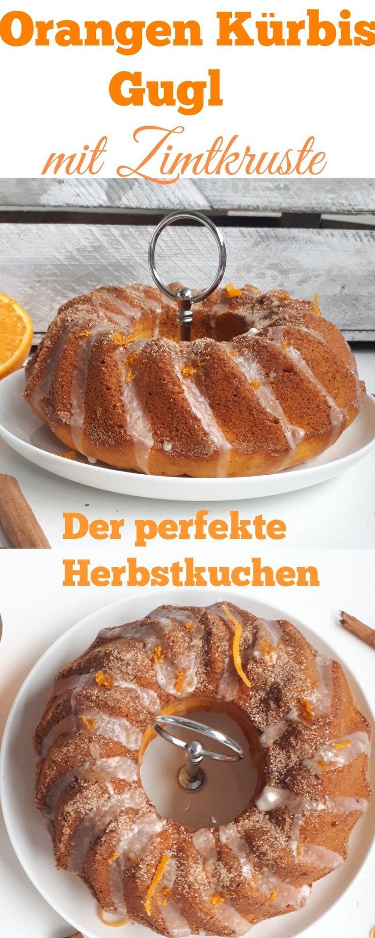 Der perfekte Herbstkuchen! Und er geht recht flott!Ihr braucht  Für 1 Gugl    350 gr Hokkaido Kürbis, Püree  180 gr Zucker, braun  3 Eier  1 Pckg. Vanillinzucker  1 Pckg. Backpulver  125 gr Butter  1/2 Orangen, den Abrieb  2 TL Zimt  50 gr Zucker ,250 gr Mehl, 3 EL Semmelbrösel    Für den Guss  Puderzucker  1/2 Orange, Abrieb und Saft