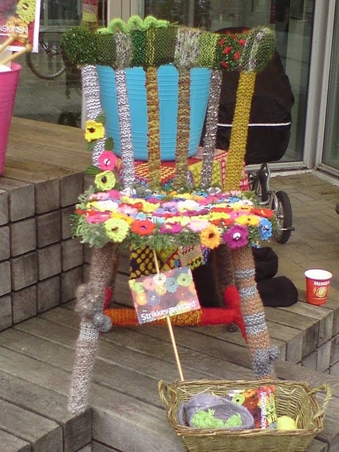 yarn bombed chair