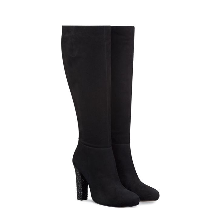 Mimosa Black Suede and Glitter ladies-boots large