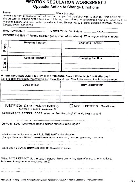 Healing from BPD - Borderline Personality Disorder: Emotion Regulation Worksheet 2 with Personal Example   Pros and Cons