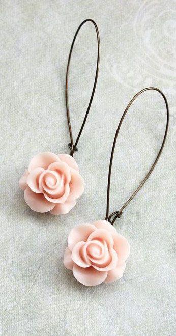 Light Pink Rose Earrings Long Dangle