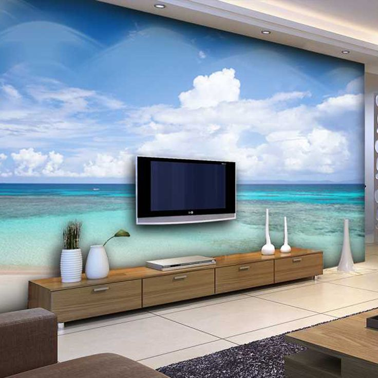 Cheap papel de pared, Buy Quality papel de directly from China 3d papel Suppliers: The seaside scenery livingroom background 3D Wallpaper Mural Photowall 3d papel de pared PW1500205136