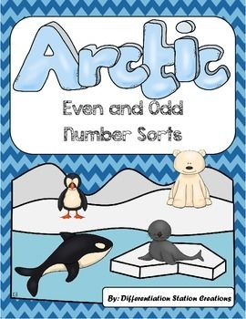 FREE! Arctic: Even and Odd Number Sort, Center & Printables