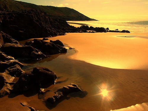 "Caswell Bay, one of the many beautiful beaches you can see as part of the Swansea & Gower section of the Wales Coastal Path - Lonely Planet voted it ""the greatest region on Earth in 2012"";"