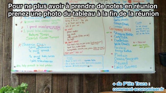 Pour ne plus avoir à prendre de notes en réunion prenez une photo du tableau à la fin de la réunion